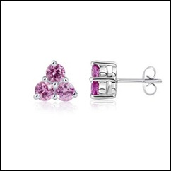Round Pink Sapphire Three Stone Earrings