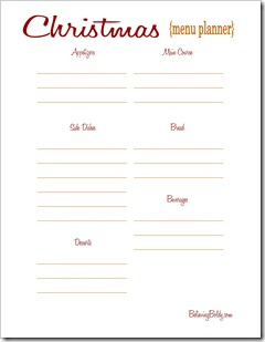 Christmas Menu Planner Printable SJB