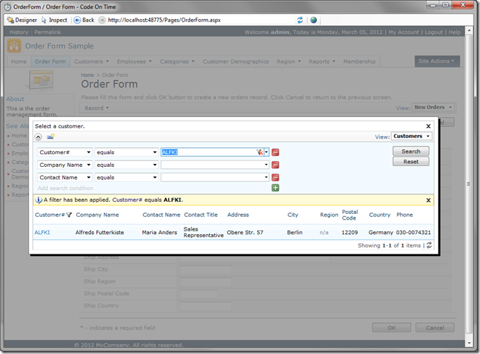 CustomerID Lookup showing filtering and advanced search in Code On Time Preview