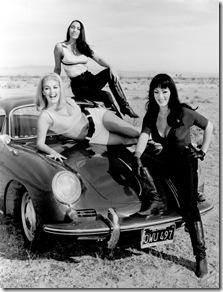 Faster Pussycat, Kill Kill (1965)<br />Directed by Russ Meyer<br />Shown from left: Lori Williams (as Billie), Haji (as Rosie), Tura Satana (as Varla)