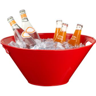 I like how this ice bucket is both large enough to sit on the floor, and small enough to rest on the bar. Its such a fun color too. (cb2.com)