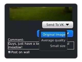Send To VK.com app for BlackBerry 5, 6, 7