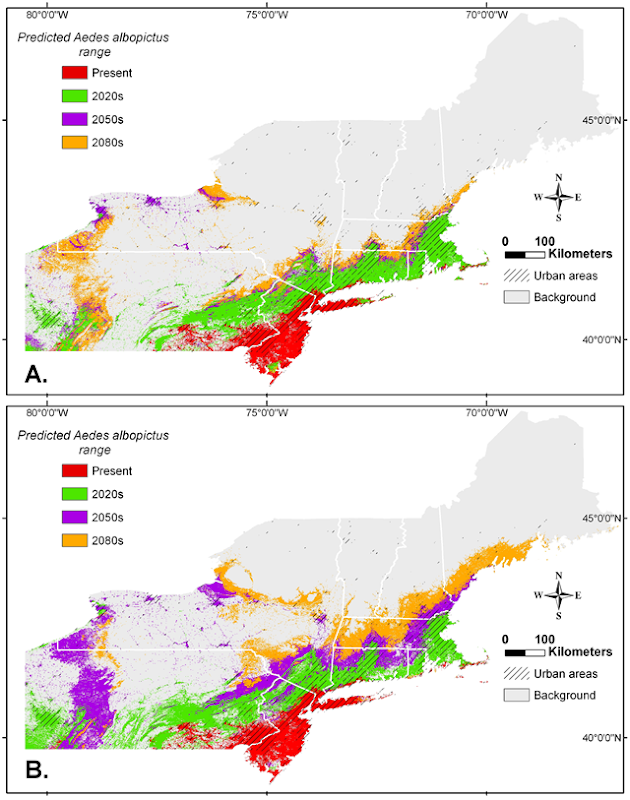 Climate Change and Predicted Range Expansion of the Asian Tiger Mosquito (Aedes albopictus) in Northeastern USA, Present-2080s. Graphic: Rochlin, et al., 2013