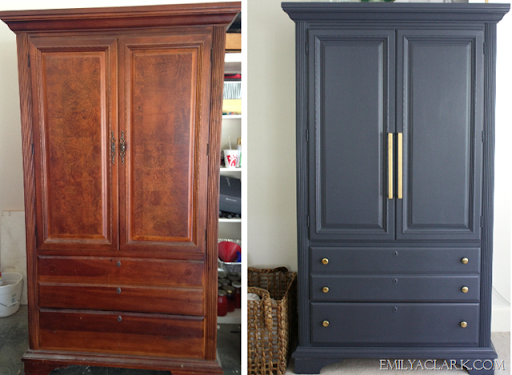 Painted Navy Armoire Makeover