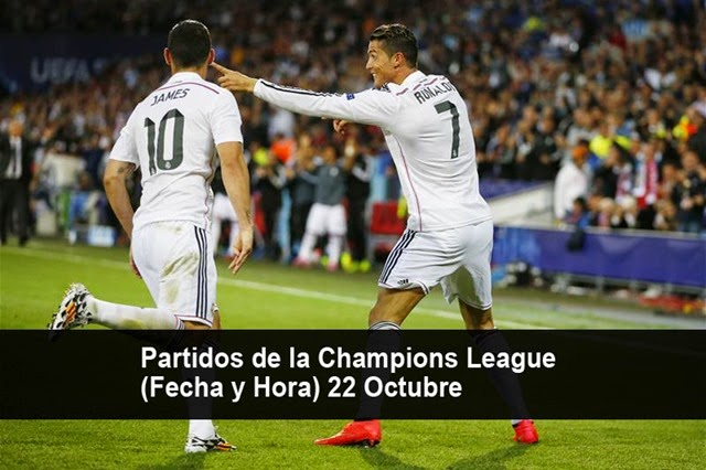 Fecha y Hora de todos los partidos de la Champions League (22 Octubre)