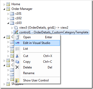 Edit in Visual Studio context menu option for 'contol1' will open the user control in Visual Studio.