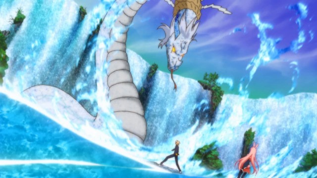 A wide shot of Izayoi, with Black Rabbit behind him, standing in front of a leviathan water serpent