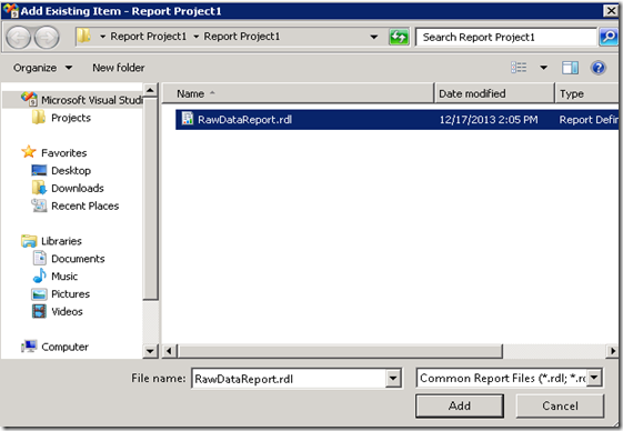 2. Add Existing RDL file