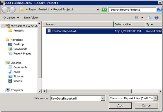 2. Add Existing RDL file