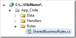 SharedBusinessRules file in the Solution Explorer.