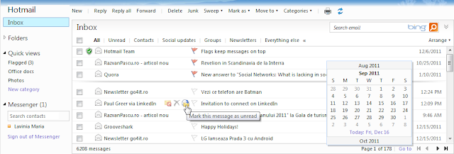 Hotmail flags on top and instant actions