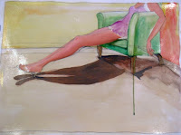 The Green Chair.Pencil, watercolor, shellac and oil on paper. 35x22. Sold.
