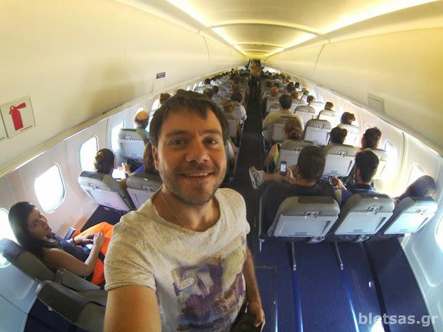 Μέσα στο αεροπλάνο της Astra Airlines (http://www.astra-airlines.gr). Επιστροφή από Καλαμάτα Θεσσαλονίκη.