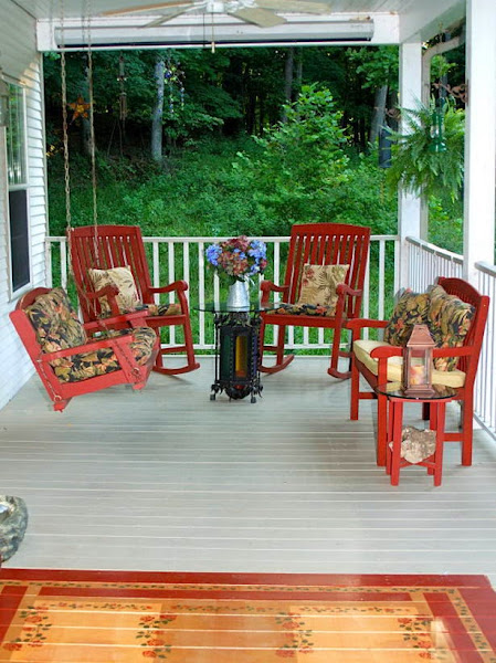 Front Porch Design Colorful Flowers And Cushions Front Porch Furniture
