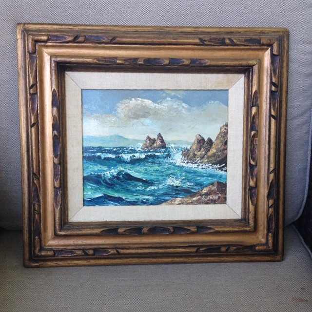 thriftscorethursday boxycolonial ocean oil painting
