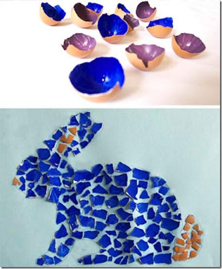 eggshell kids easter craft mosaic niños cascarón manualidad pascua mosaico mosaik eierschale kinder basteln ostern