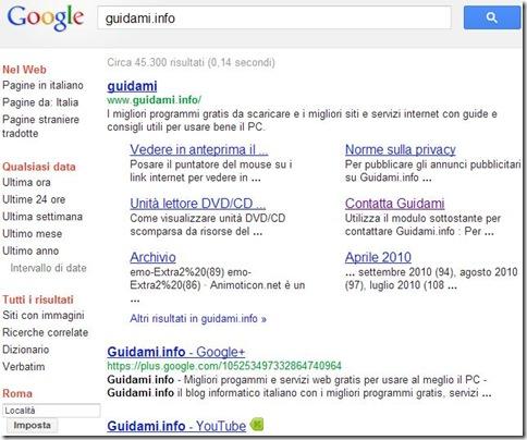 Opzioni di ricerca Google disposte nel lato sinistro della pagina
