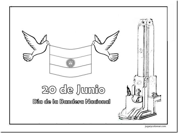 20 de junio colorear dia de la bandera nacional