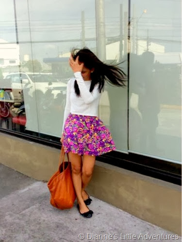 Pixie Dust, Forever 21, Mango, POSH Pocket Shoes, cropped top, skirt, floral, print, fashio, outfit, flats, glitter, bag