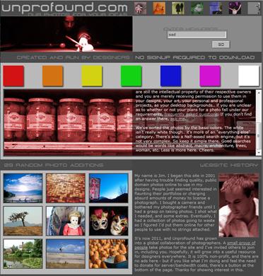 Página inicial do Unprofound.com