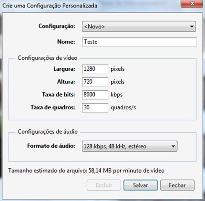 Configuração personalizada