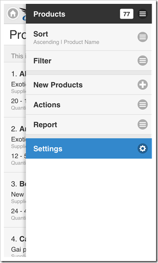 Standard 'Settings' context menu option is always available to end users of apps with Touch UI.