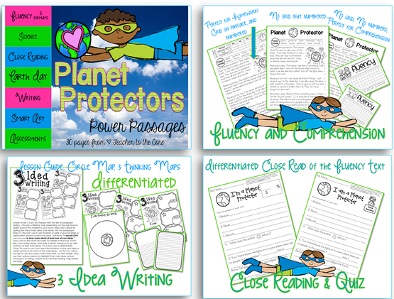 Spring Fluency social studies and science themed- fluency art writing and quizzes- spring themes like plants and Earth Day