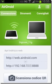 Indirizzi per accedere a AirDroid dal browser