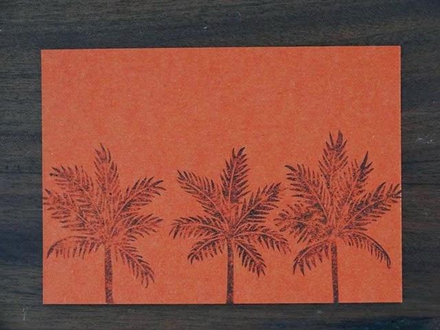 Palmtrees orange linogravure HeleneB1