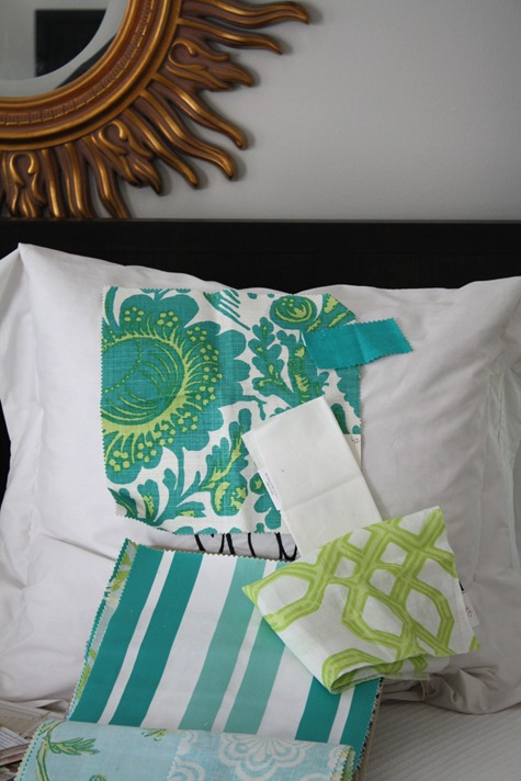 teal white and green bedroom fabrics