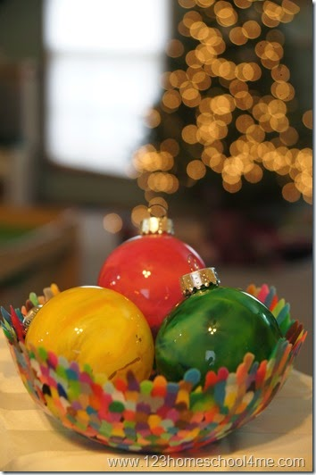Beautiful Melted Crayon Ornament  Christmas Craft