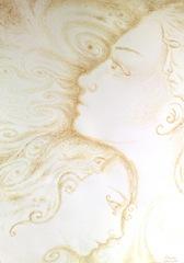 Prietenie adevarata si calda picttura facuta cu cafea - Close friends coffee painting