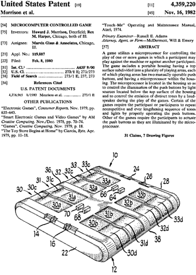 "United States ""Microcomputer Controlled Game"" patent, number 4,359,220"