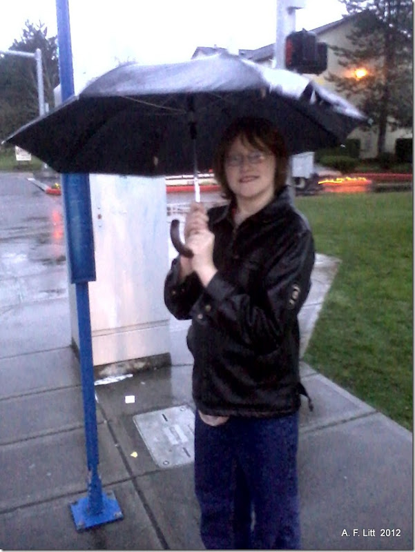 On the way to his first Middle School Dance.  February 10, 2012.
