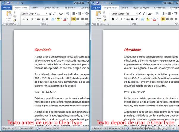 Texto antes e depois de utilizar o ClearType