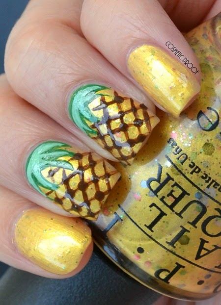 OPI - Pineapples Have Peelings Too! Swatch Review Pineapple Nail Art (2)