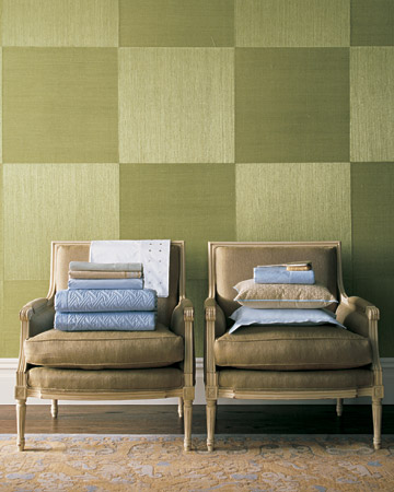 Patterned green walls? Yes! Patterns can be mixed when a palette is this restrained.