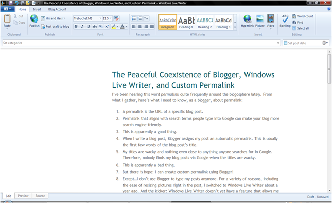 custom permalink using windows live writer and blogger 2