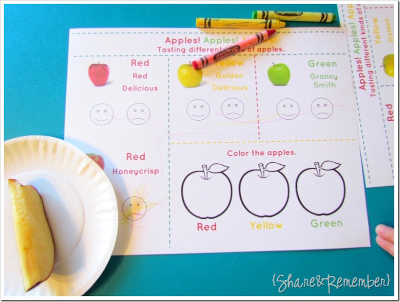 Apple tasting kindergarten worksheet