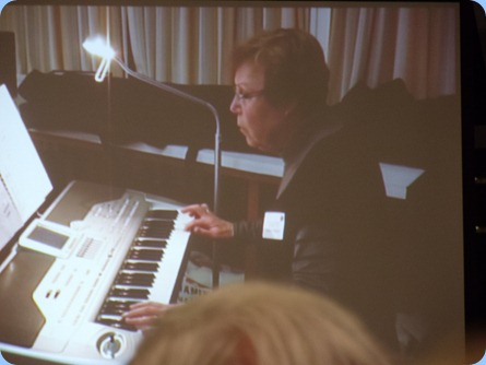Yvonne Moller brought her Korg Pa1X to play for us. Photo courtesy of Delyse Whorwood.