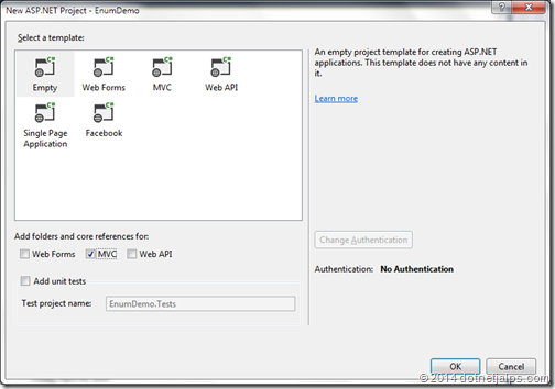 Enum demo for ASP.NET MVC 5.1- Visual Studio 2013