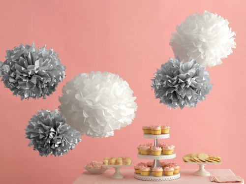 Here are the pom poms in silver mixed with white versions. (shop.marthastewart.com)