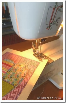 machine sewing paper patchwork hearts