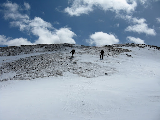 "Nearing the summit of Quail, and ""easy"" 13er made a lot tougher by the high winds."