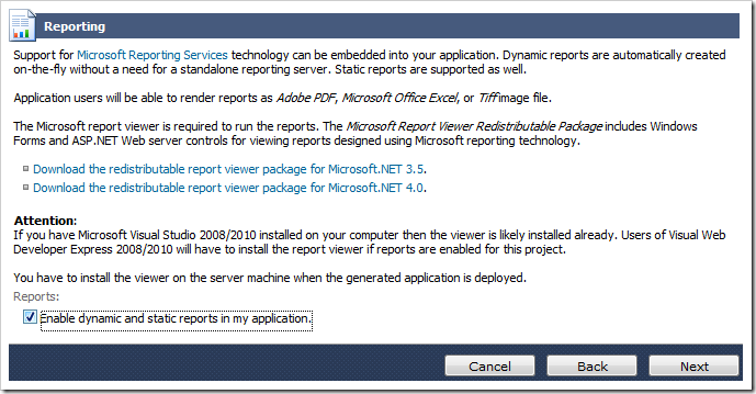 Enabling reporting for the Web Site Factory web application.