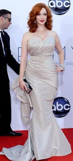 Christina Hendricks Wore ruby and diamond briolette earrings
