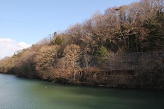 天端よりダム湖側左岸を望む