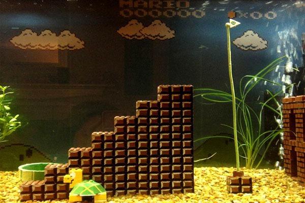 Aquário-Cenário-Super-Mario-Tartaruga-Escada-Bandeira