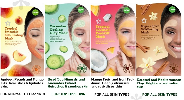 001-superdrug-face-masks-july-2012-tropical-smoothie-heating-cucumber-cooling-tropical-peel-off-sugar-spice-self-heating