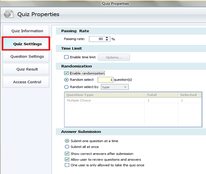 quiz settings ตั้งค่าคำถามในแบบทดสอบ